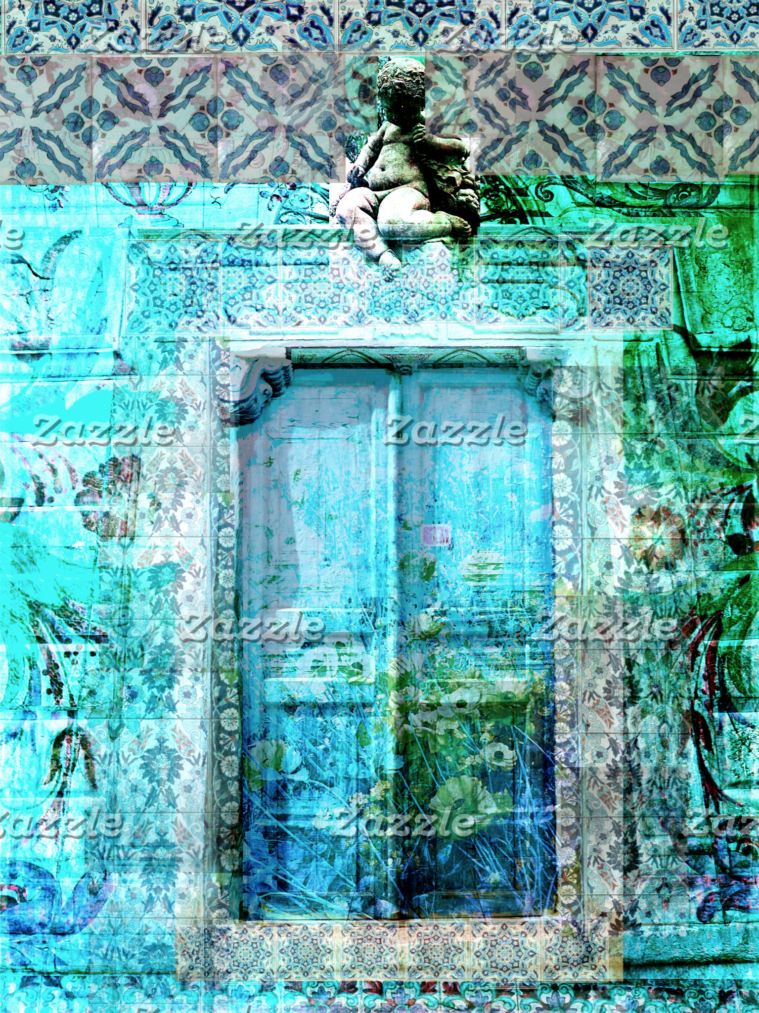 Charming, Rustic Painted Blue Door With Angel
