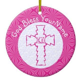 Pink Zig-Zag Christian Cross