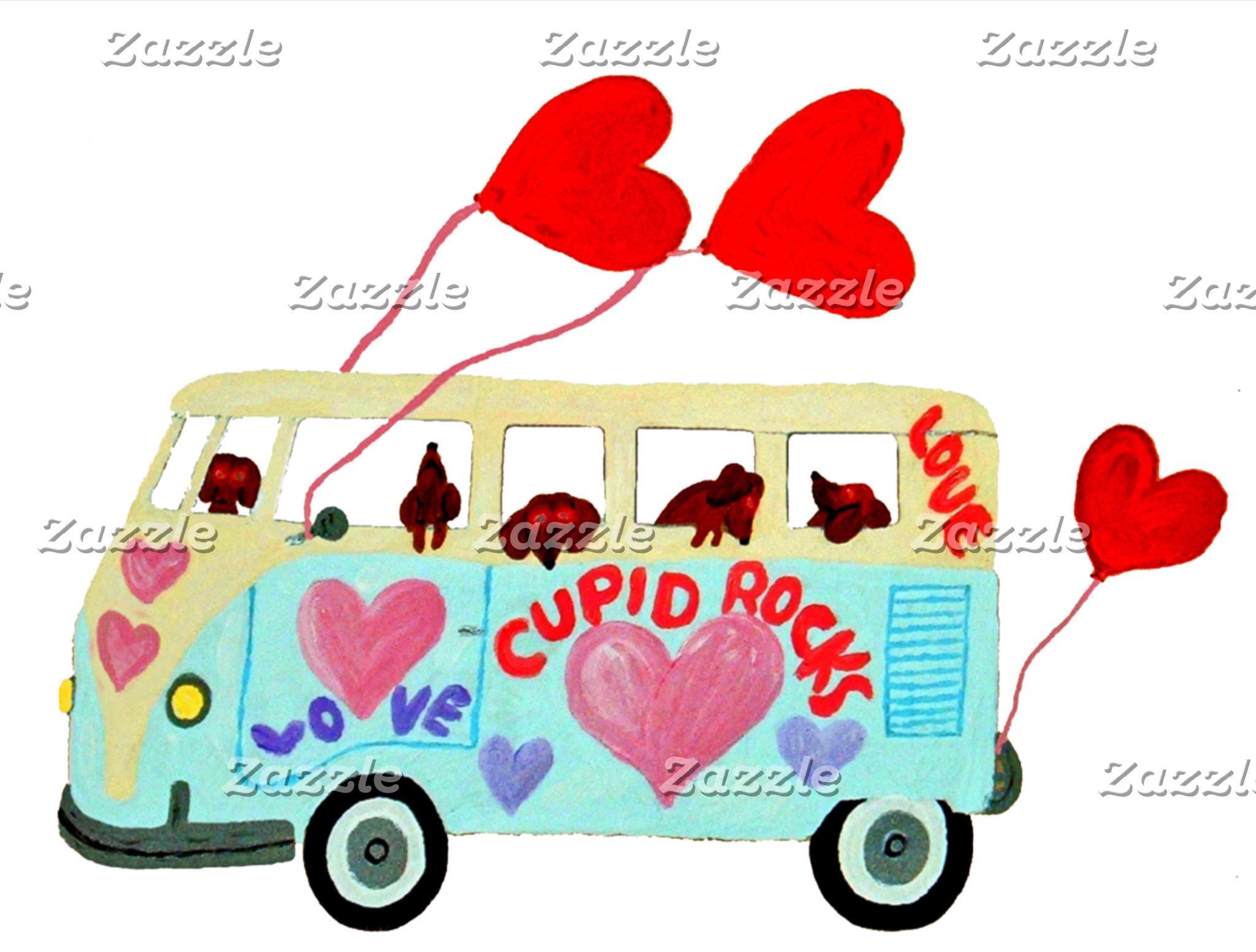 Dachshund Valentine Cupids In Their Love Mobile