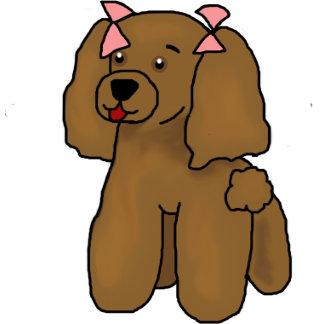 Brown Poodle Pink Bows