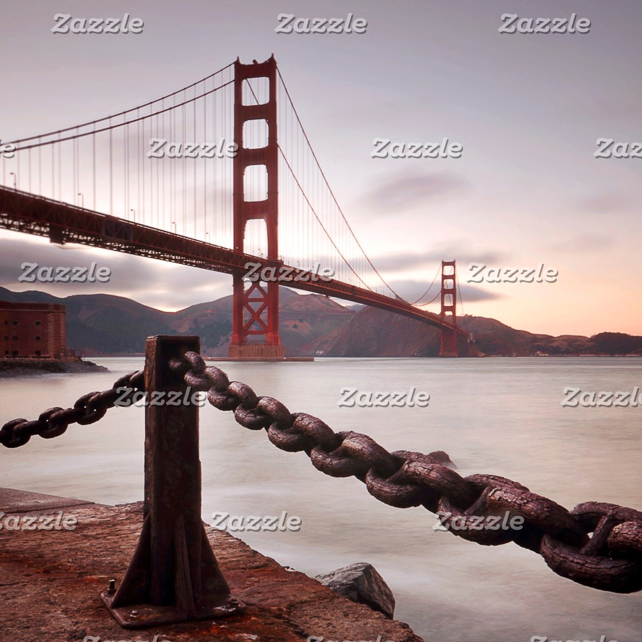 Golden Gate Bridge against mountains