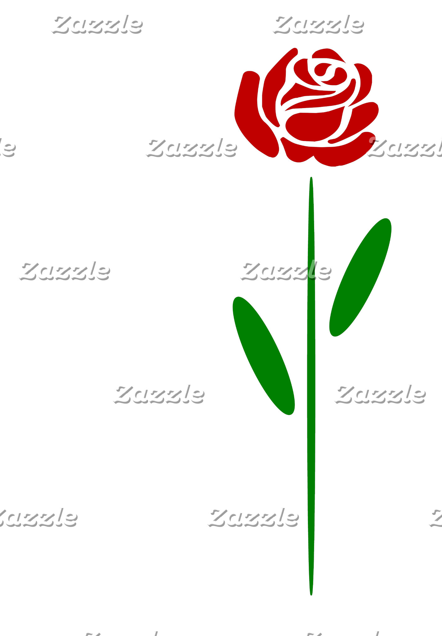 Art Deco Red Rose Green Stem and Leaves