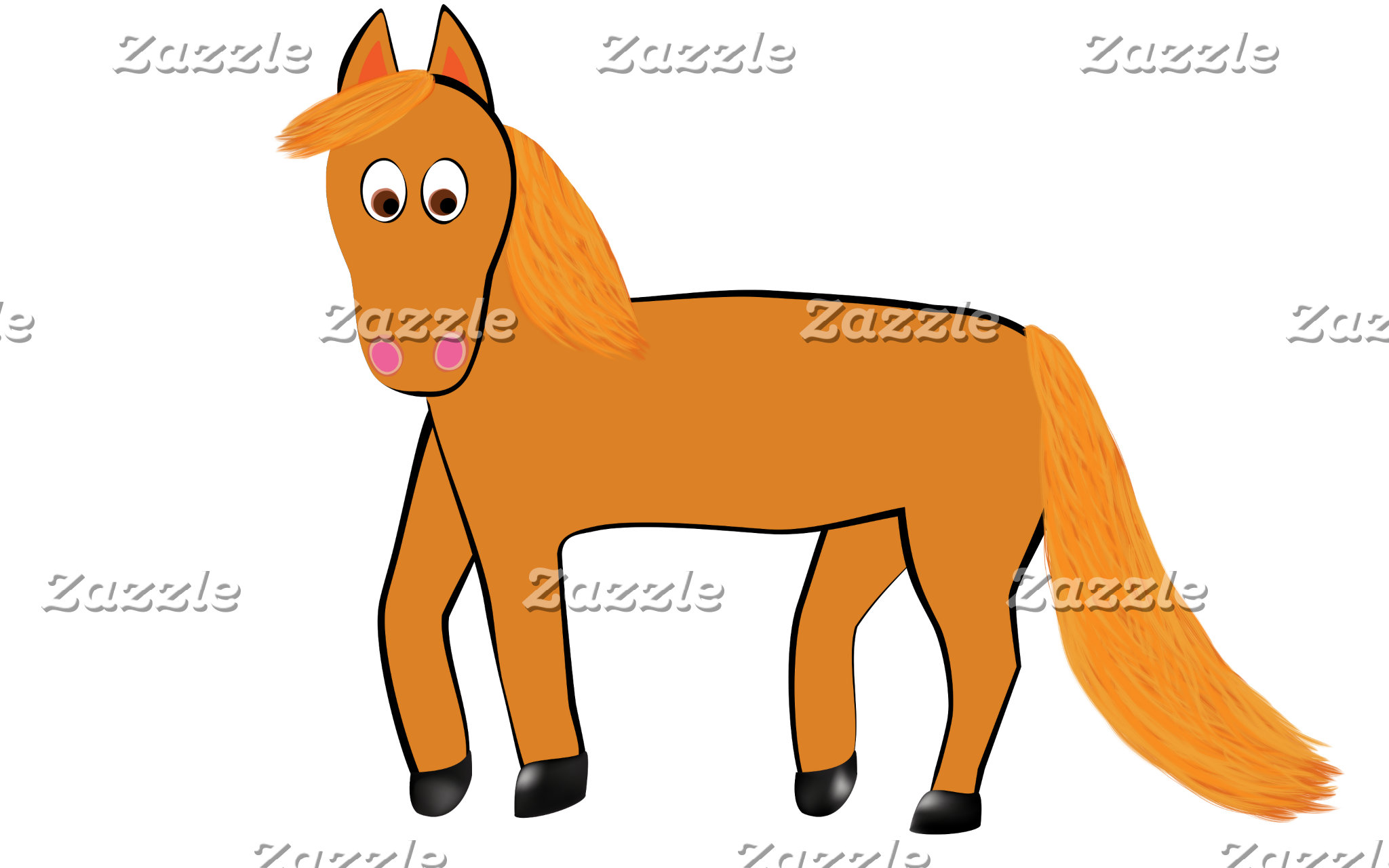 Cartoon Chestnut Horse