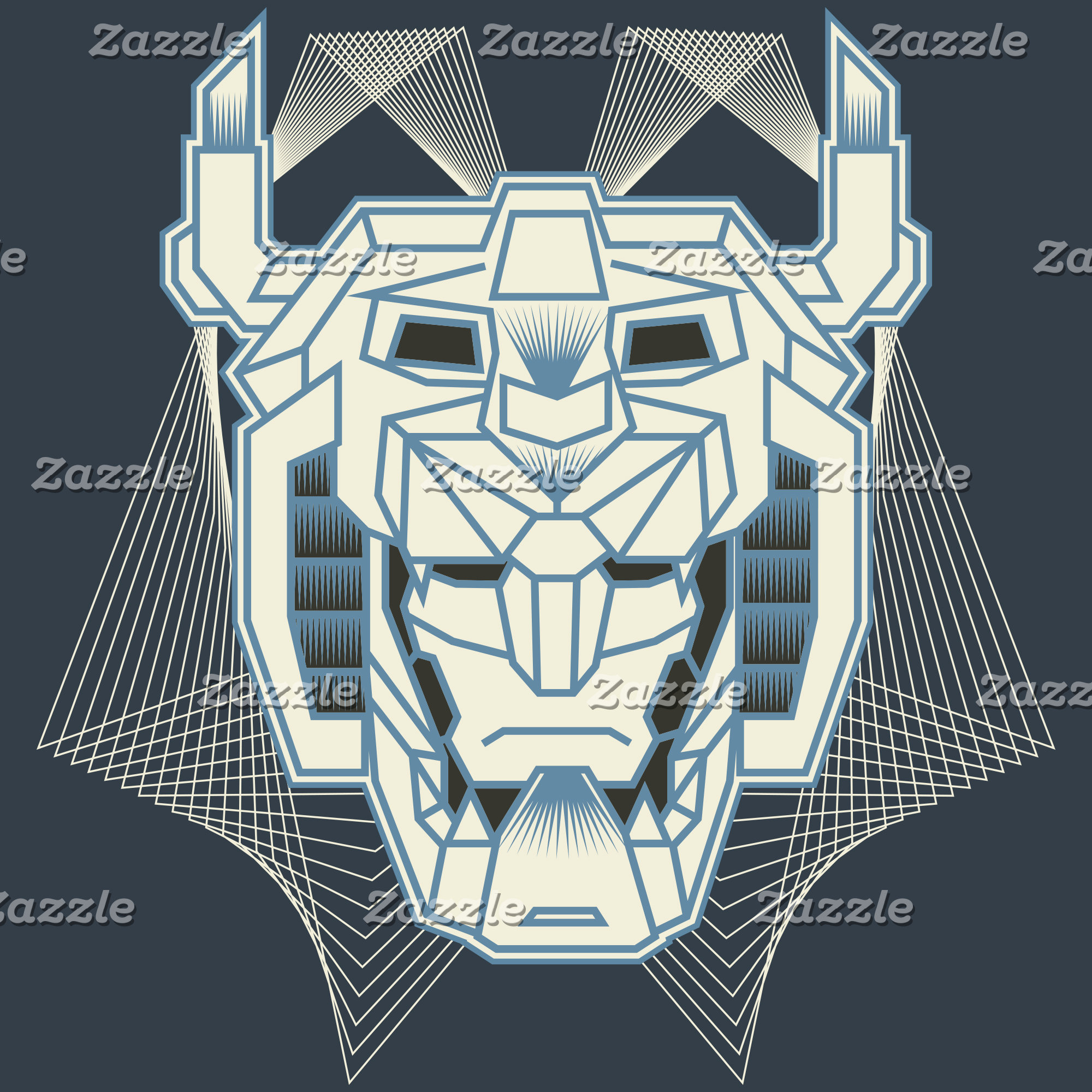 Voltron | Voltron Head Blue and White Outline