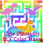 Cute Dinosaurs in a Color Maze Gifts
