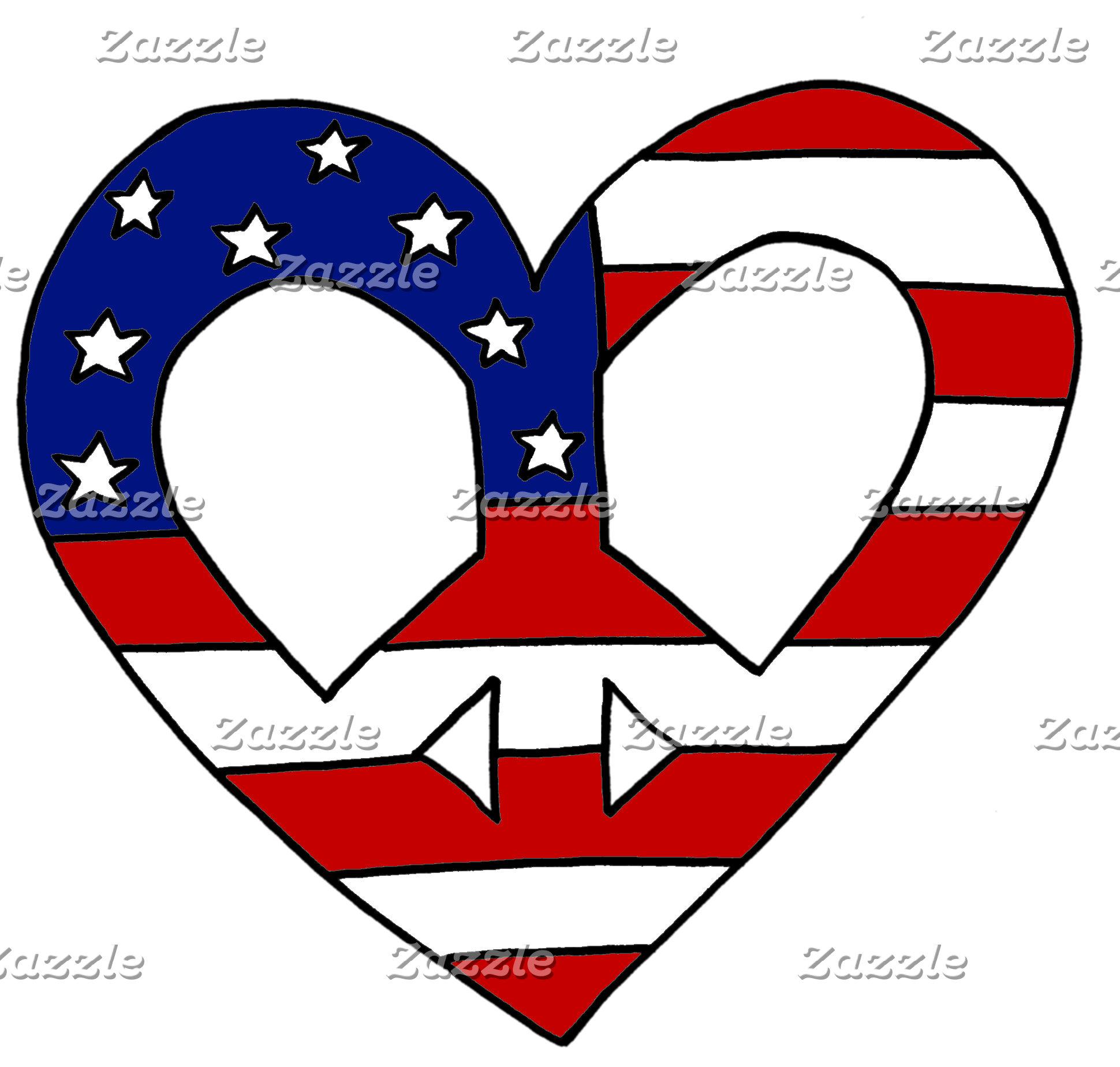 Peace Love Heart USA Flag Symbol