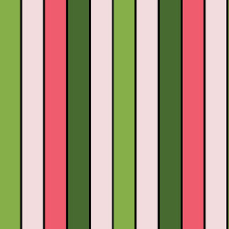 Green And Coral Stripe