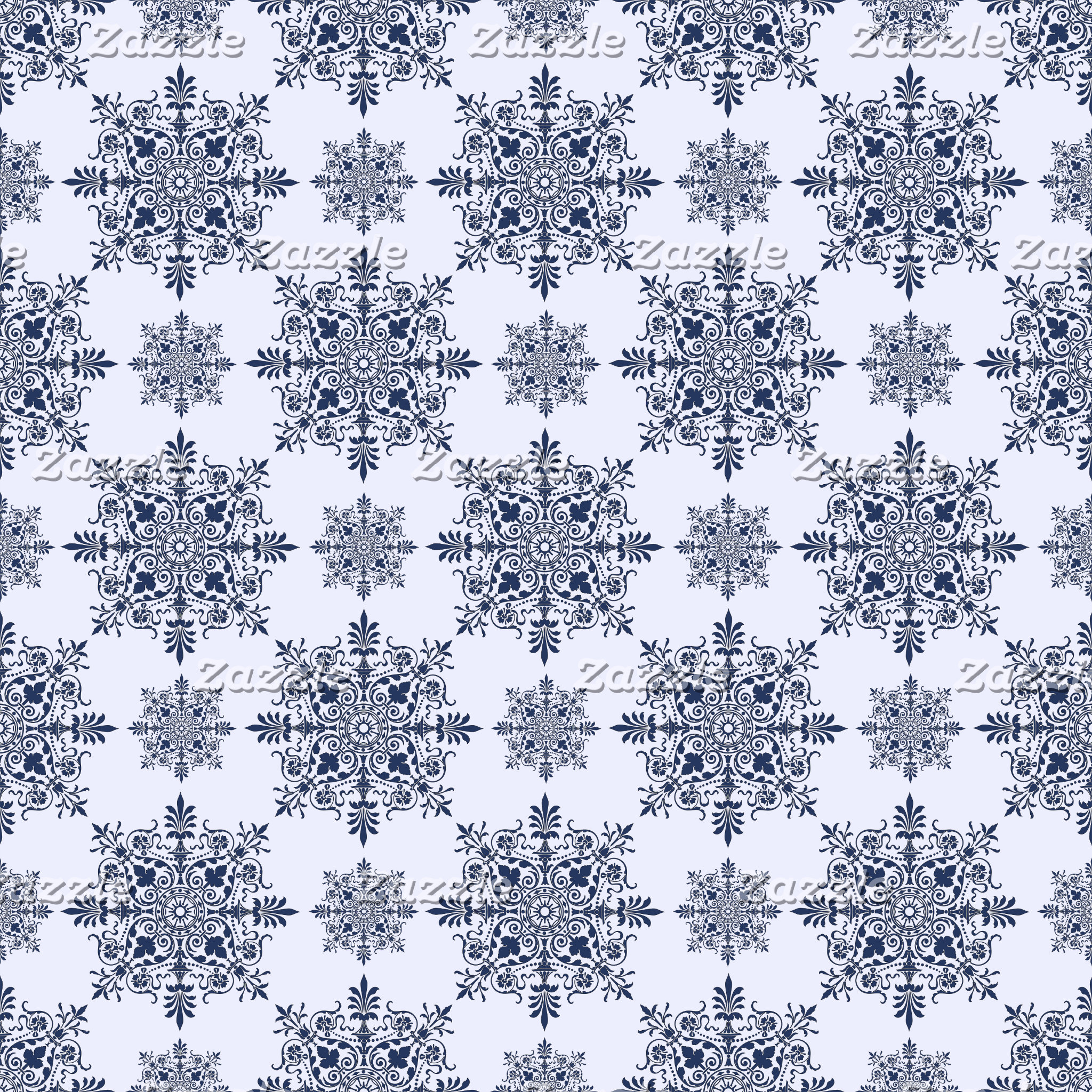 Blue Snowflake Damask