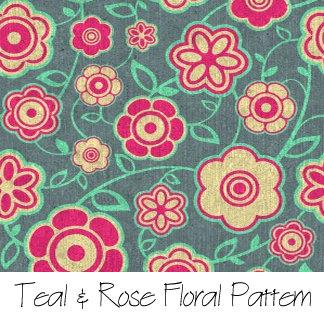 Teal & Rose Floral Pattern