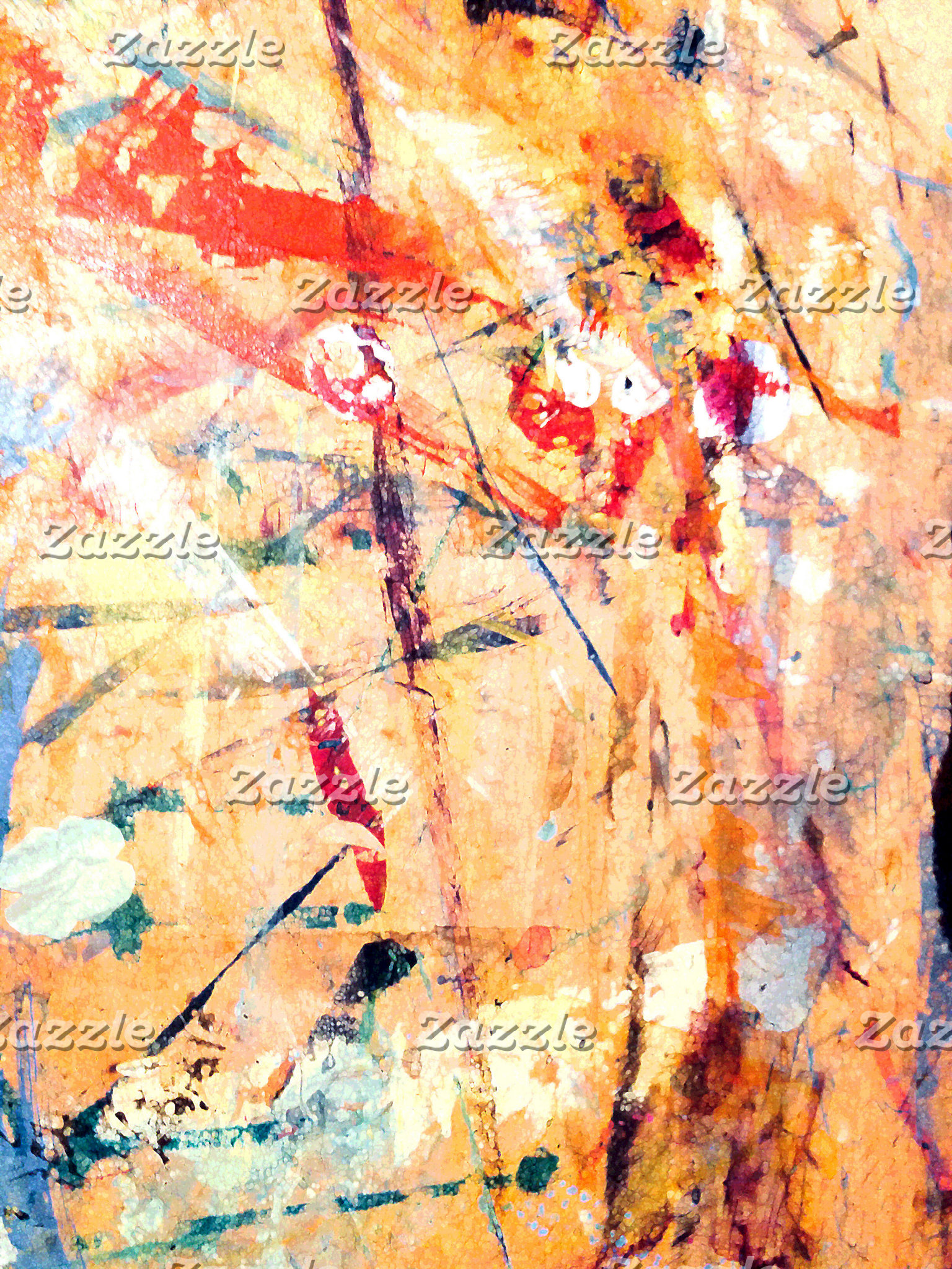 Abstract, Hand-Painted, Mixed Media