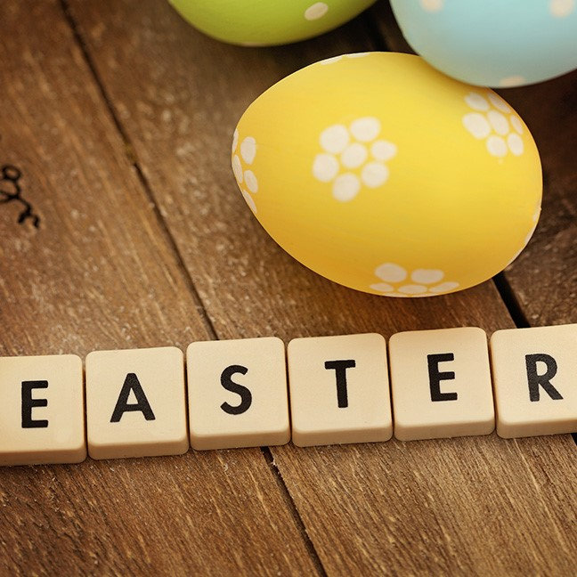 Colorful Easter Eggs and Letter Tiles