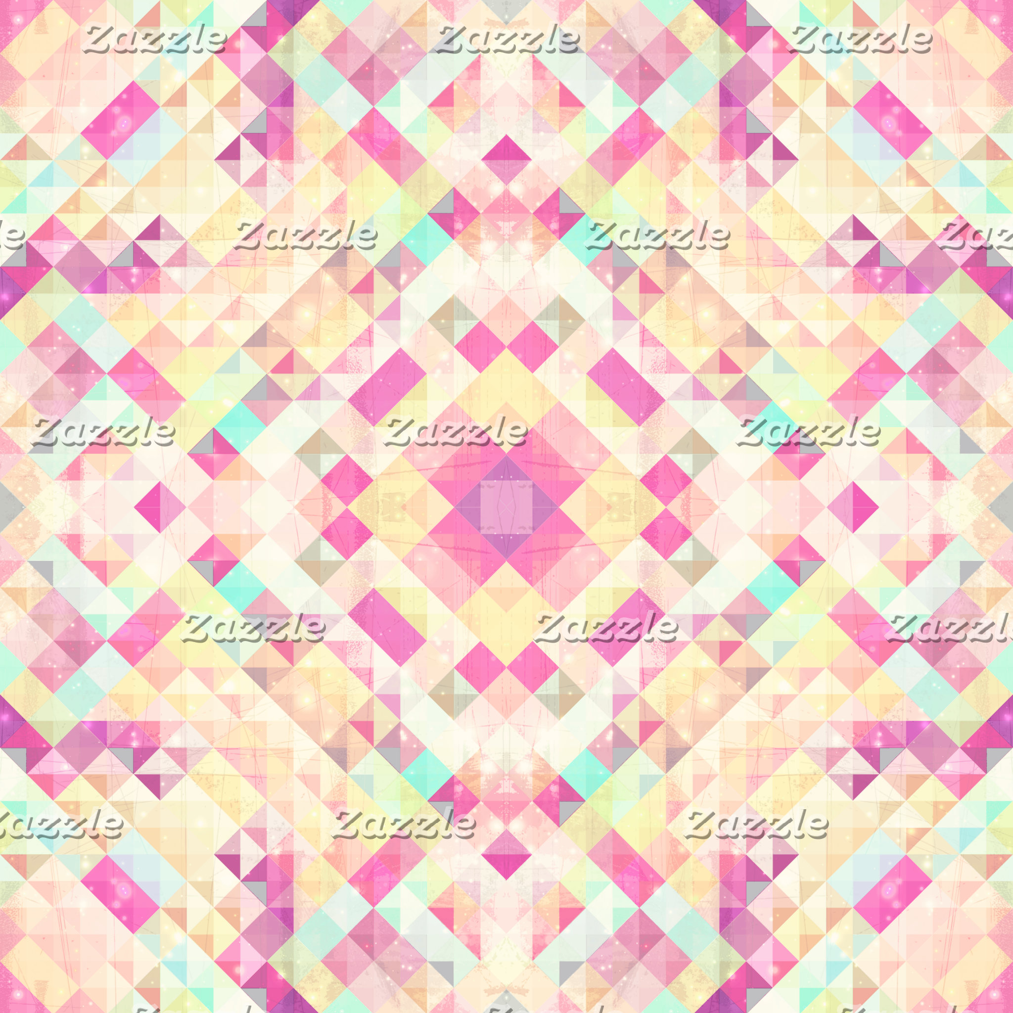 Bright Pink Turquoise Pastel Triangles Geometric