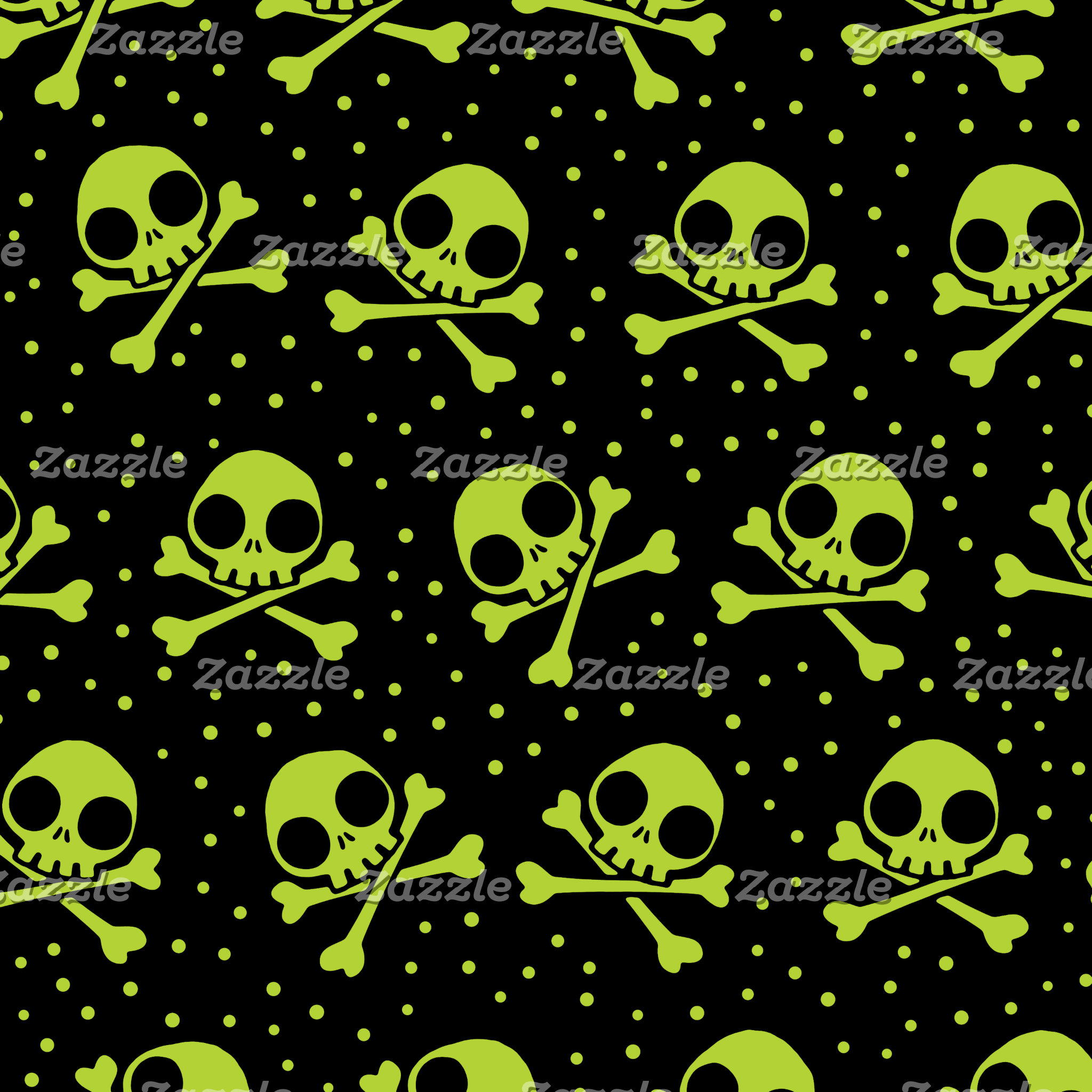 Cute Green Skulls Pattern