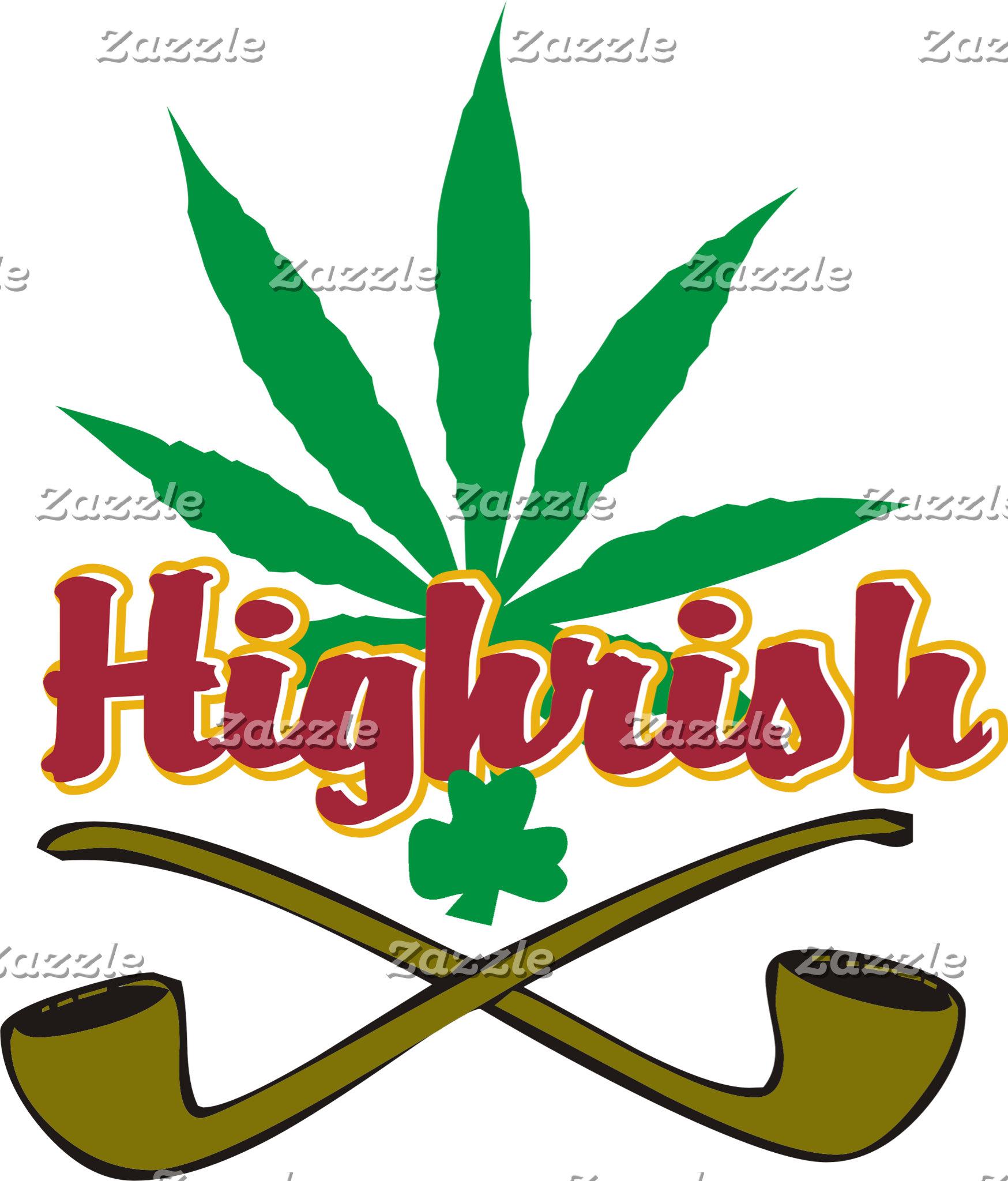 Funny Irish Highrish T-Shirts Cannabis Marijuana