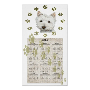 Westie Dog Art Calendar Poster