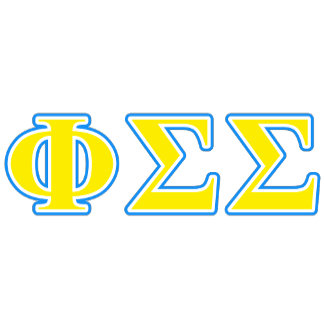 Phi Sigma Sigma Blue and Yellow Letters