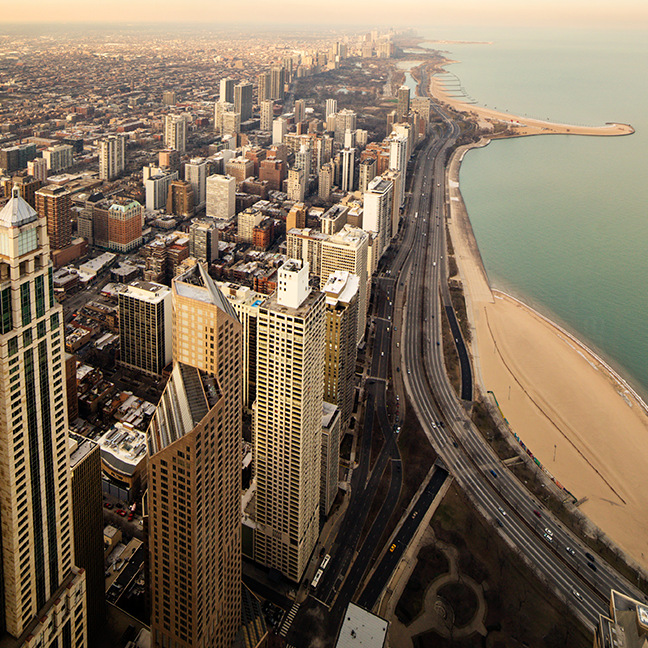 Ariel View of Chicago Coast Line