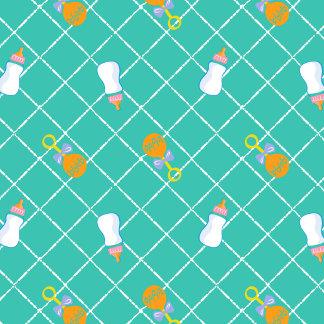 Teal Bottle & Rattle Pattern