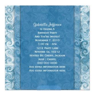Beachy Blue Swirl Invitations