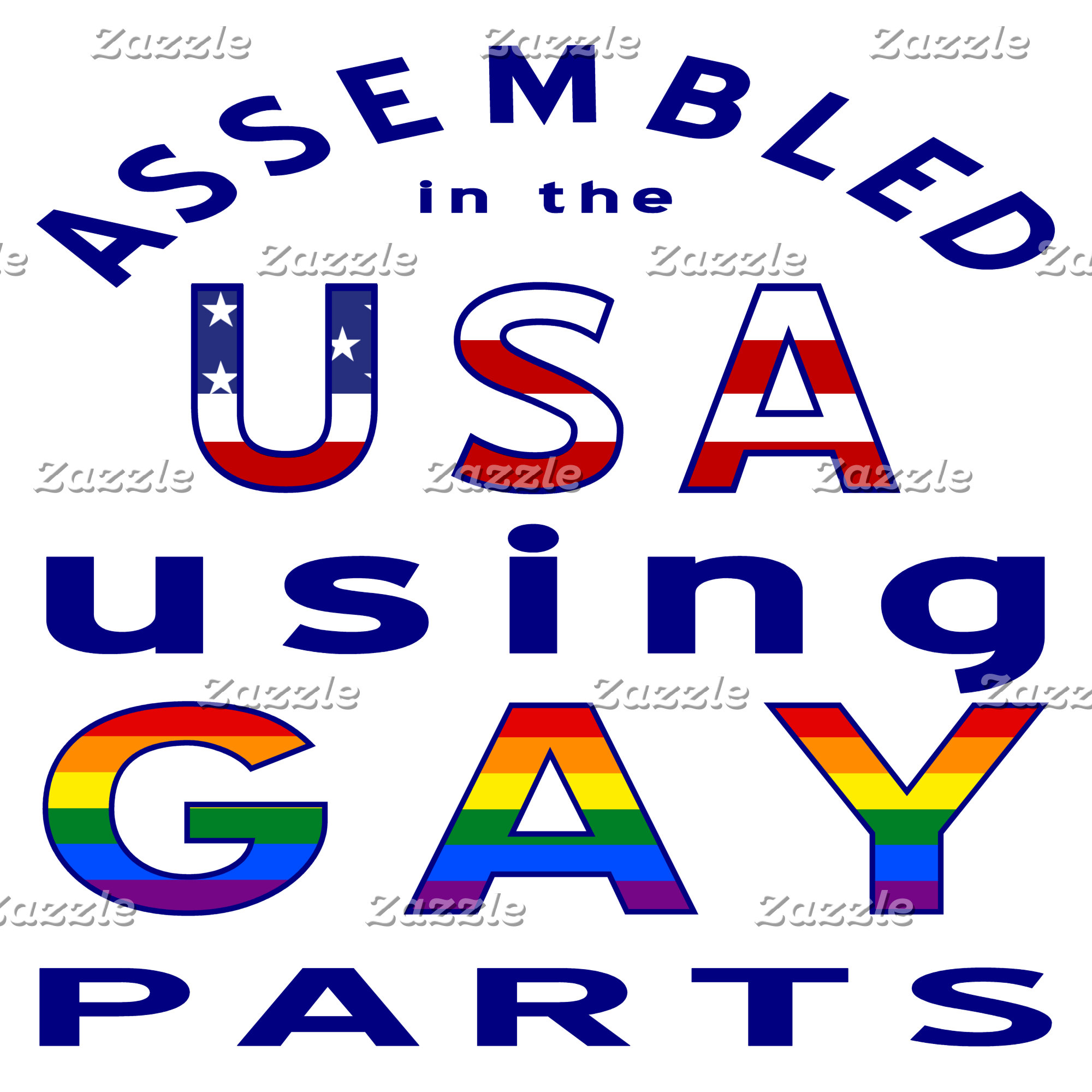 Blue Assembled in the USA Using Gay Parts