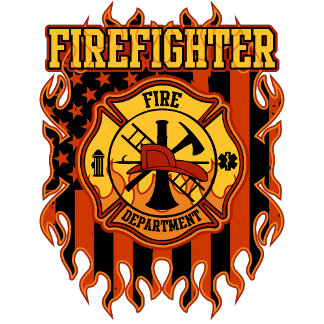Firefighter Fire Department Badge and Flag