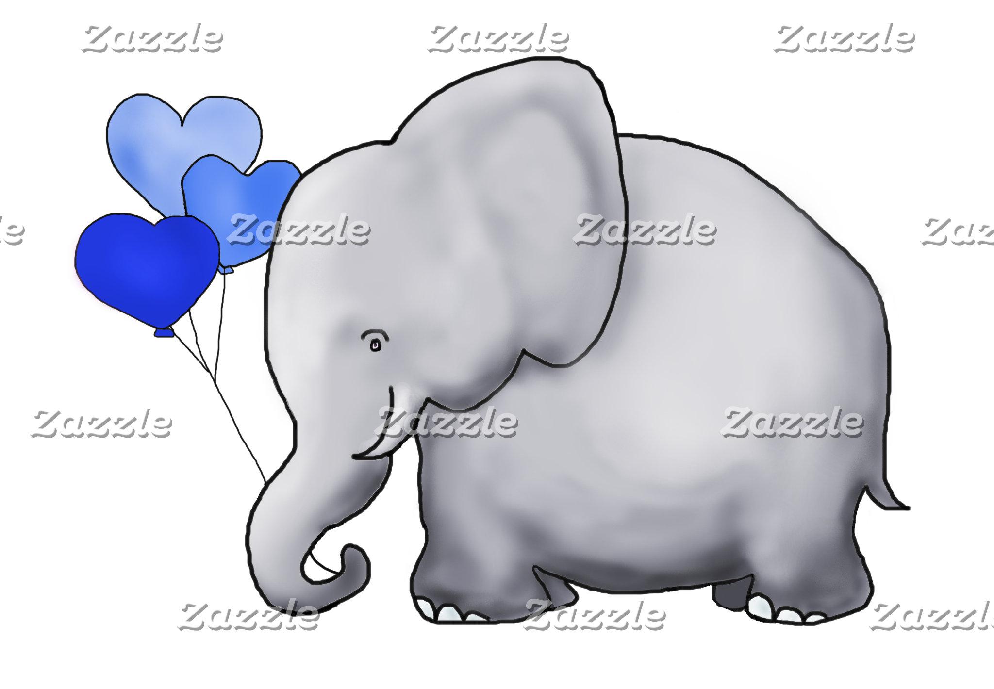 Heart Balloon Elephant - Blue Baby Shower