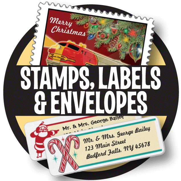 Holiday Stamps, Labels + Color Envelopes