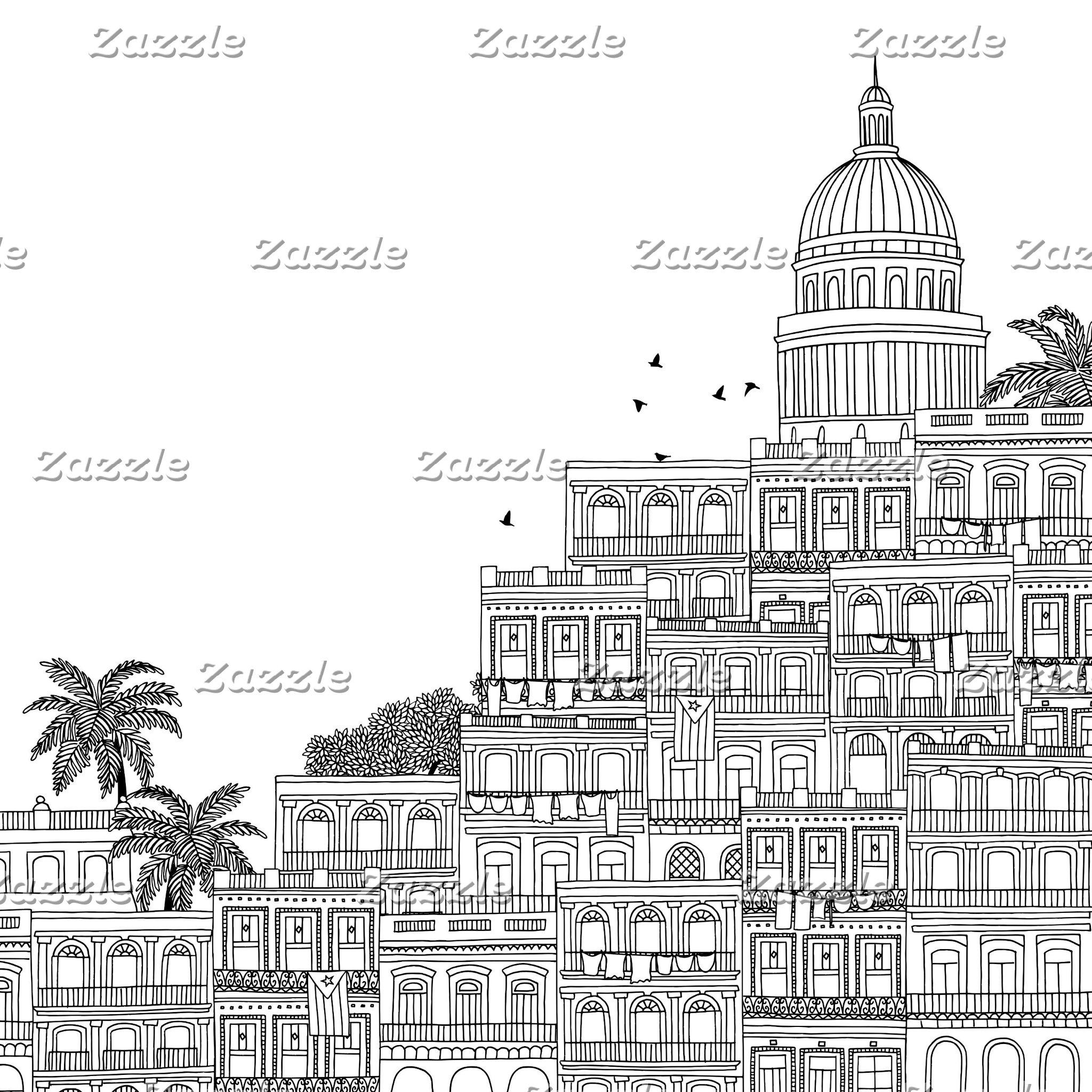 Havana City Street Houses Skyline Illustration