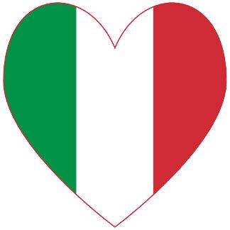 Italian Heart Flag Red Border