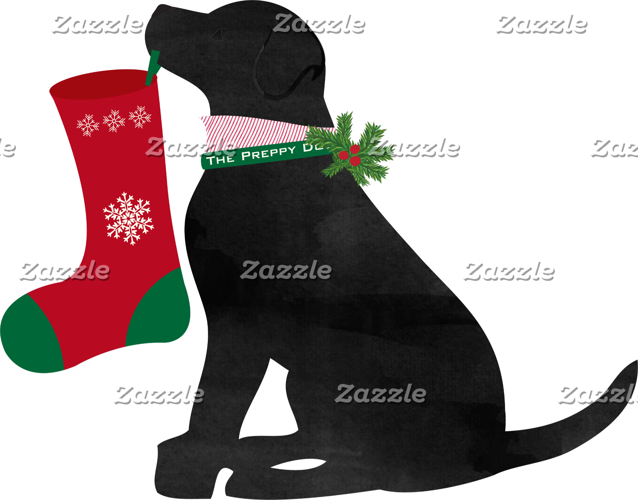 Christmas Black Lab Preppy Dog