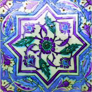 Blue and Purple Geometric Isnik Tile
