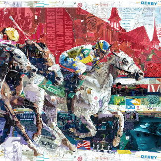 Abstract Race Horses Collage