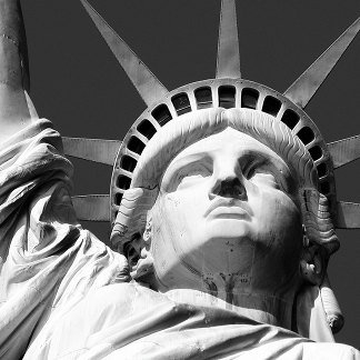 Close up of the head of the Statue of Liberty