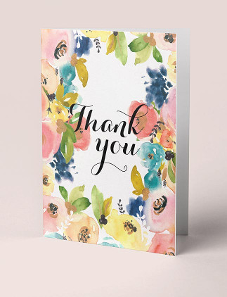 Tarjetas de agradecimiento con flores