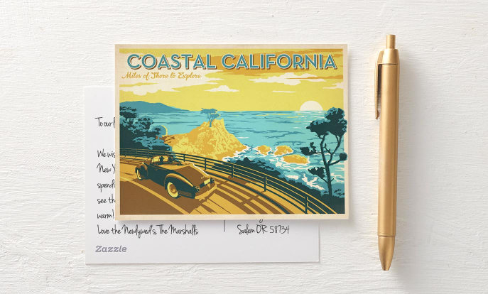 Postales con diseños vintage de viajes