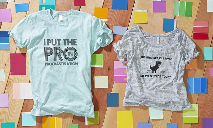 Echa un vistazo a la colección de camisetas divertidas y personaliza la tuya con el color, diseño o estilo que más te guste.