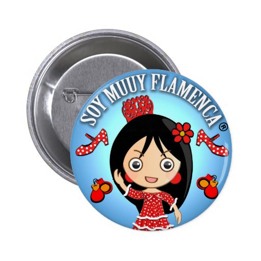 Chapa Soy Muuy Flamenca Rojo y Azul Chapa Redonda 5 Cm