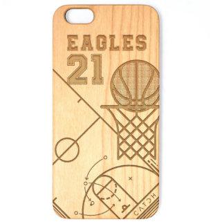 Caso de madera real de encargo del baloncesto del