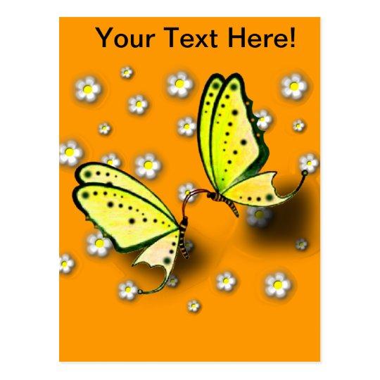Swallowtails amarillo y margaritas en 3D Postal