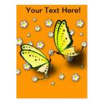 Swallowtails amarillo y margaritas en 3D Tarjetas Postales