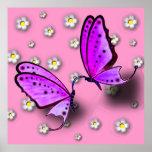 Swallowtails púrpura y margaritas en el poster 3D