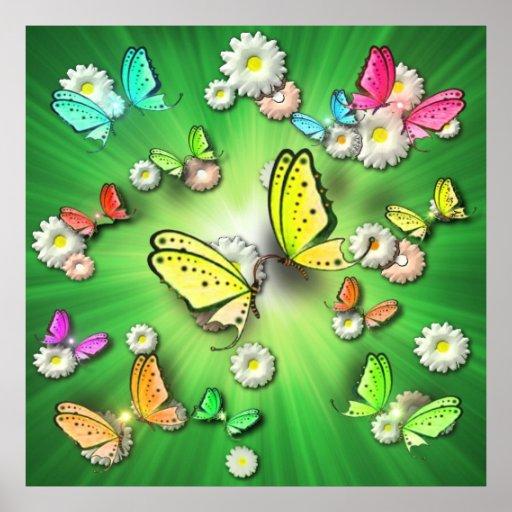 Swallowtails y Daisys verdes mágicos en el poster