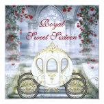 Sweet 16 de princesa Carriage Enchanted blanco Invitaciones Personalizada
