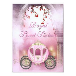 Sweet 16 de princesa Carriage Enchanted rosado Invitación 16,5 X 22,2 Cm