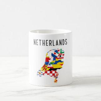 Symb holandés del mapa de la bandera de la taza de café