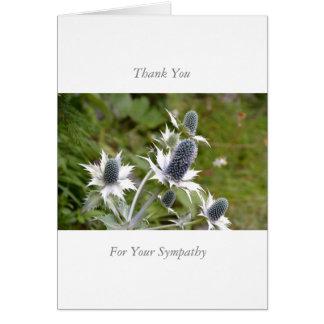 Sympathy/Memorial Thank You nota Card Blue Thistle Tarjeta De Felicitación