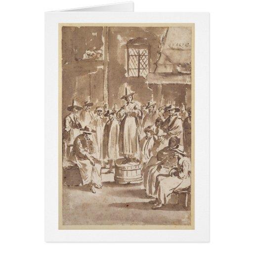 T34029 una reunión de oración del Quaker (pluma y  Tarjeton