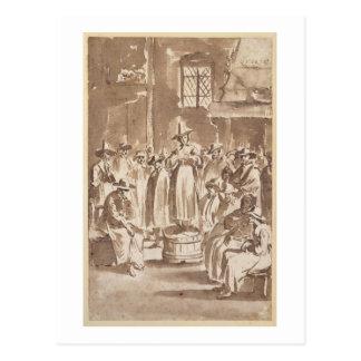 T34029 una reunión de oración del Quaker (pluma y  Tarjeta Postal