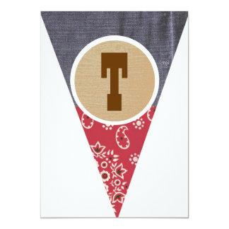 T de la letra del banderín del vaquero invitación 12,7 x 17,8 cm