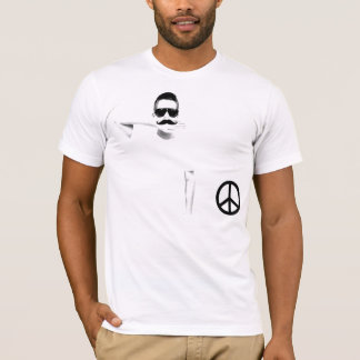 T-shirt Crew Ad Moustache Peace and Moustache Camiseta